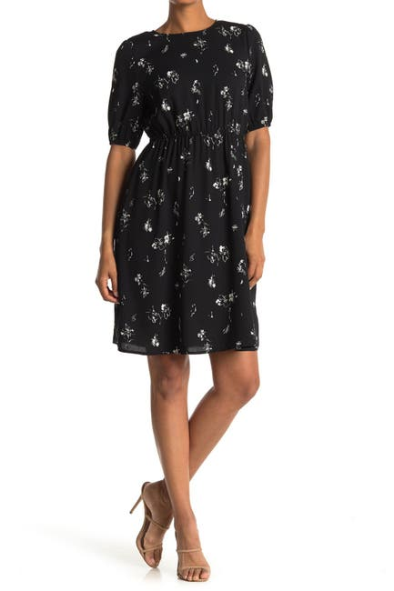 Image of Halogen Blouson Sleeve Floral Print Dress