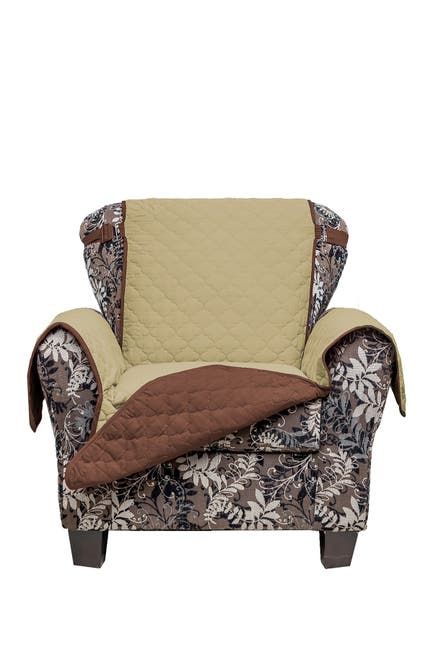 Image of Duck River Textile Sage/Chocolate Reynolda Reversible Waterproof Microfiber Chair Cover with Strap Buckles