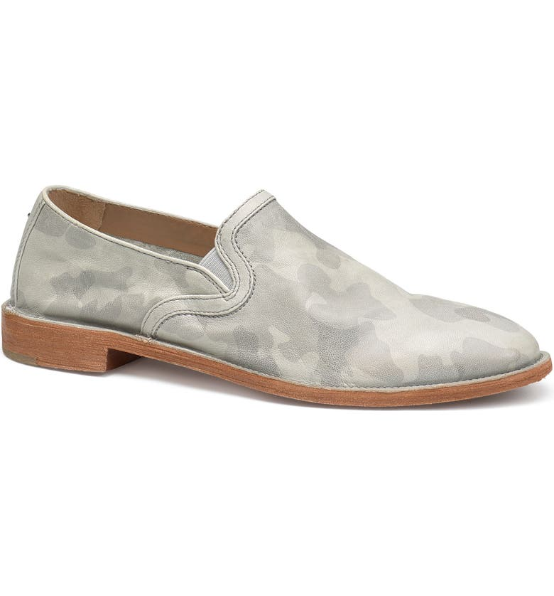 TRASK Ali Loafer, Main, color, LIGHT GREY CAMOUFLAGE LEATHER