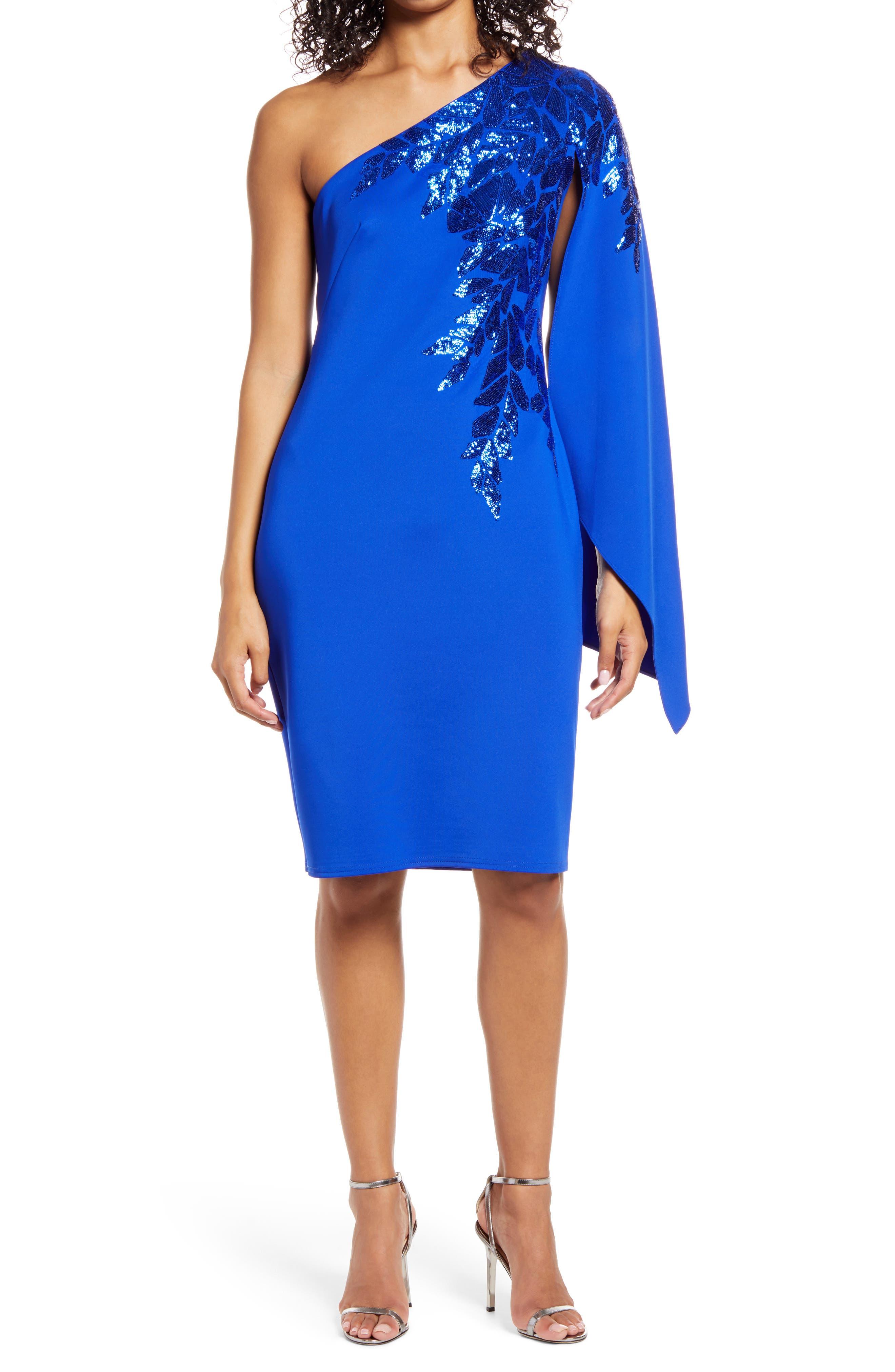 80s Dresses | Casual to Party Dresses Womens Tadashi Shoji Sequin One-Shoulder Cocktail Dress Size X-Small - Blue $308.00 AT vintagedancer.com