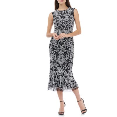 Js Collections Beaded Midi Cocktail Dress, Black