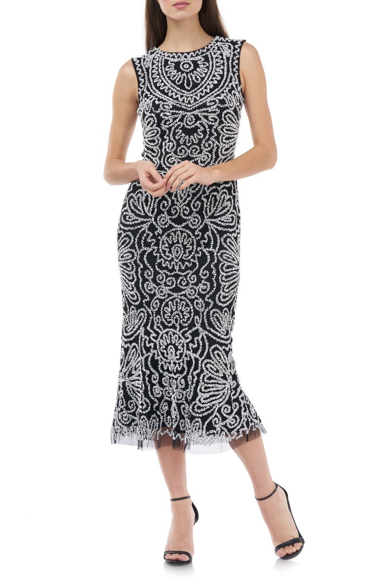 JS COLLECTIONS Beaded Midi Cocktail Dress, Main, color, 005