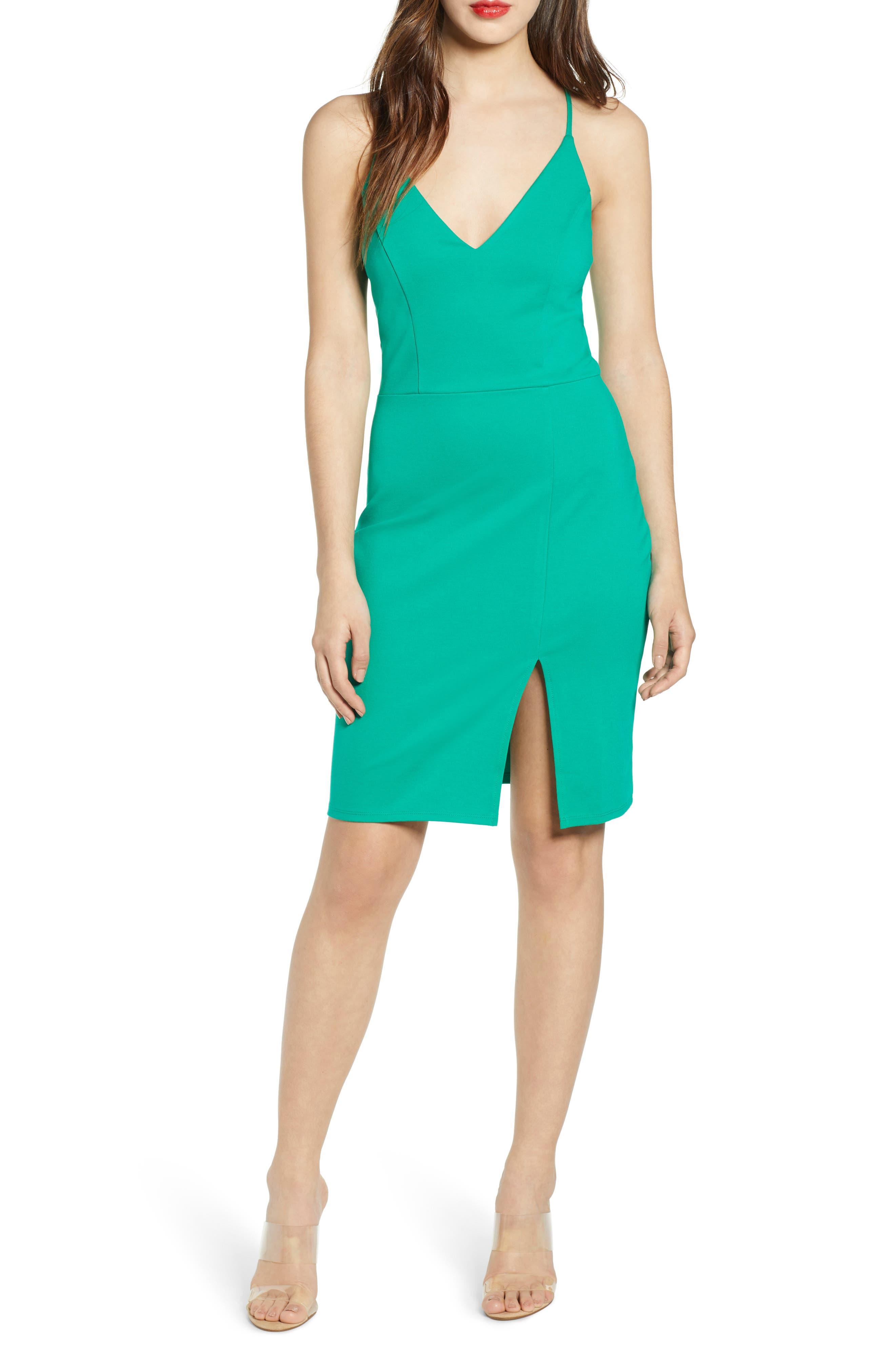 Leith V-Neck Body-Con Dress, Green