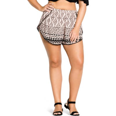 Plus Size City Chic Geo Print Shorts, Red