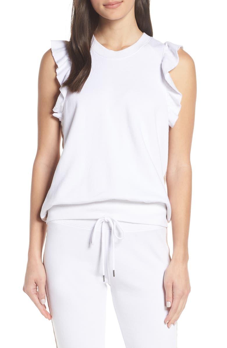 DAVID LERNER Ruffle Sleeve Sweatshirt, Main, color, WHITE