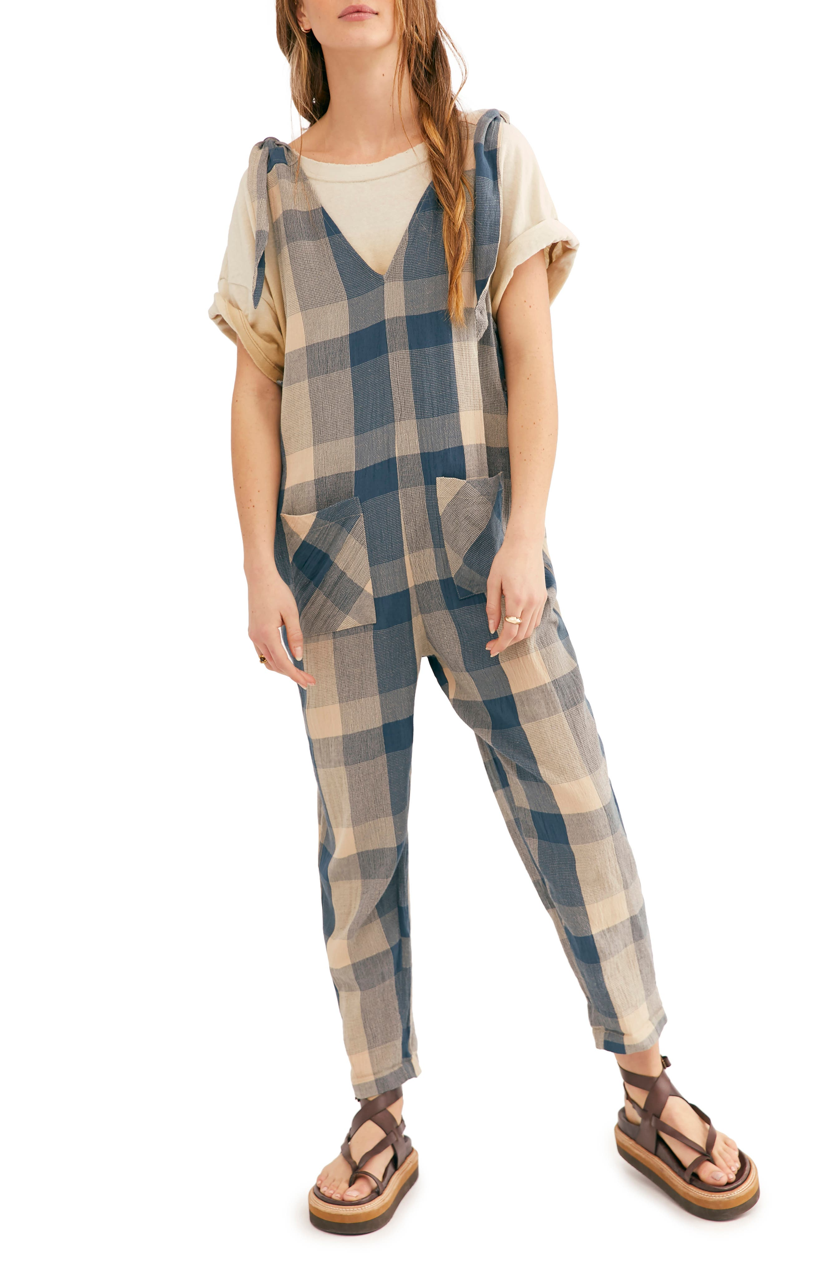 Image of Free People Don't You Want This Checked Jumpsuit