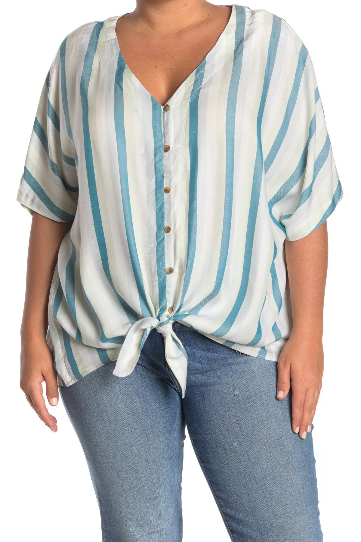 Image of Como Vintage Stripe Print Tie Front Button Down Shirt