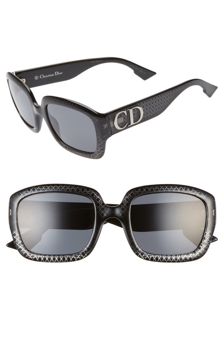 DIOR 54mm Square Sunglasses, Main, color, BLACK/ SILVER