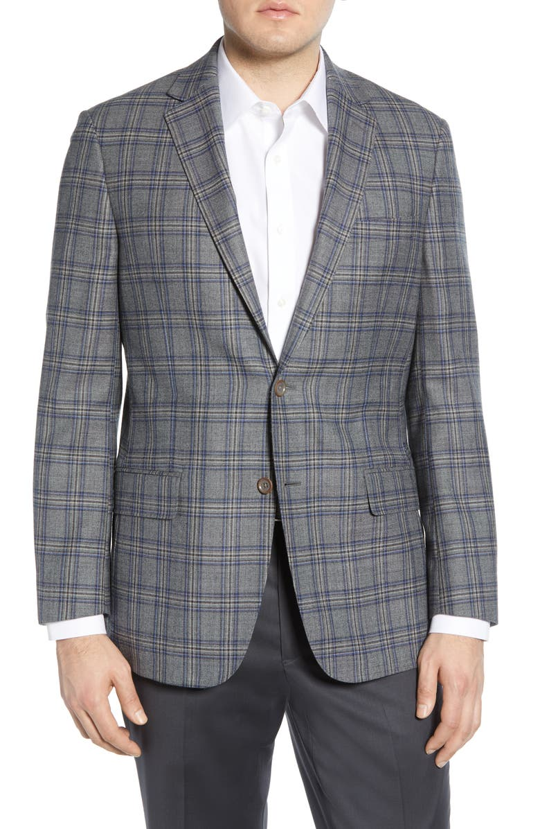 HART SCHAFFNER MARX Classic Fit Plaid Sport Coat, Main, color, MEDIUM GREY