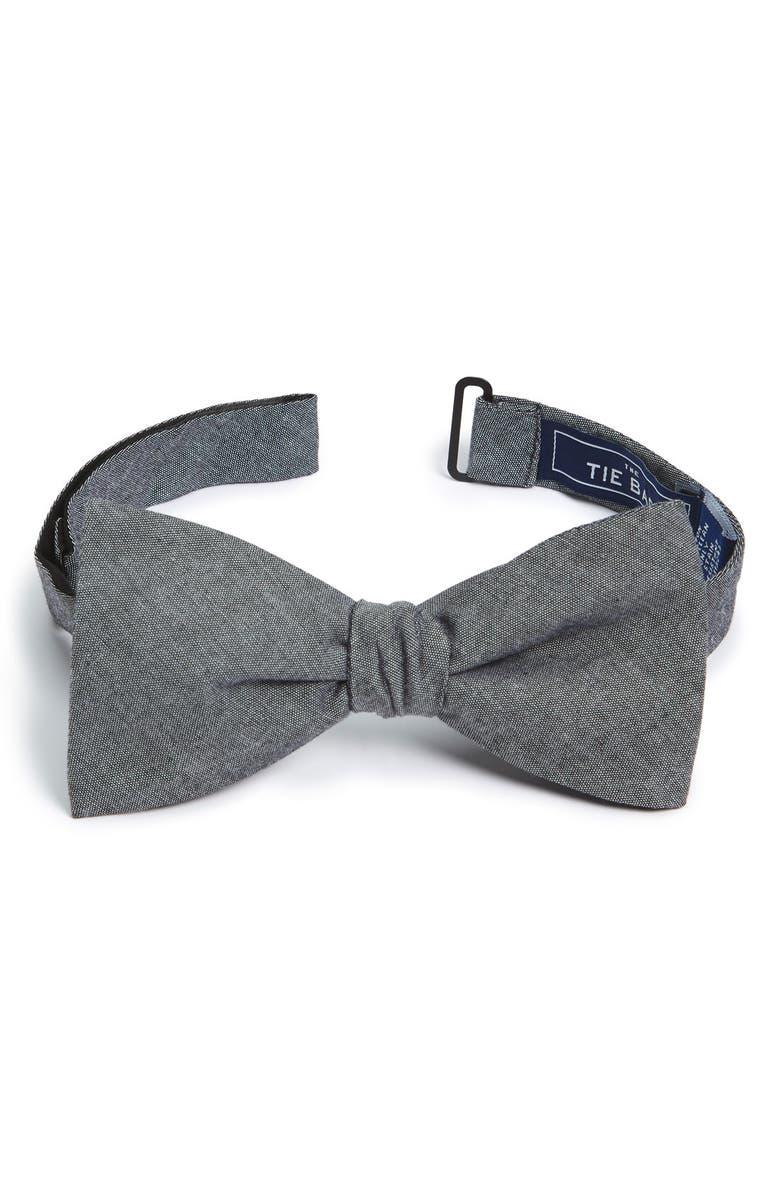 THE TIE BAR Cotton Bow Tie, Main, color, WARM GREY