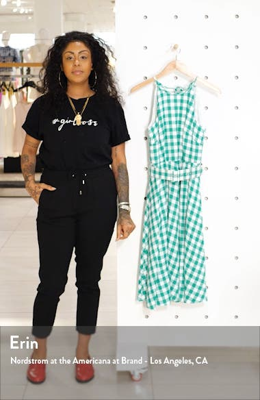 Halter Neck Gingham Fit & Flare Dress, sales video thumbnail