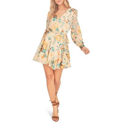 Astr The Label Aja Long Sleeve Floral Wrap Minidress, Ivory
