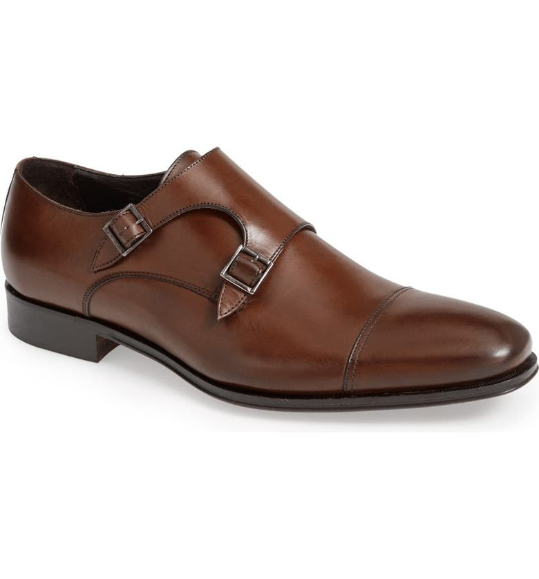 TO BOOT NEW YORK 'Grant' Double Monk Shoe, Main, color, BROWN CALFSKIN