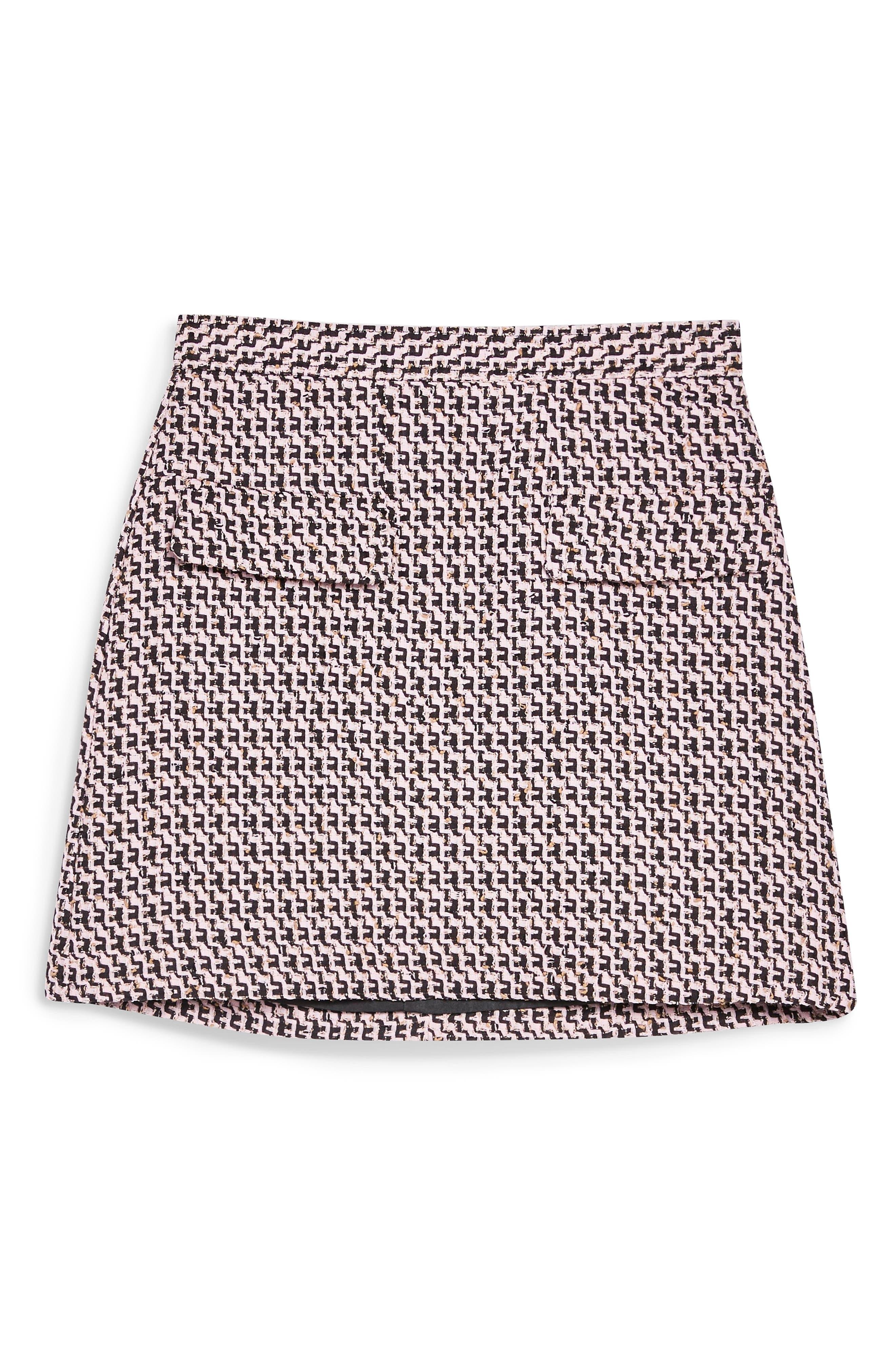 ,                             Dixie Textured Bouclé Miniskirt,                             Alternate thumbnail 4, color,                             PINK MULTI