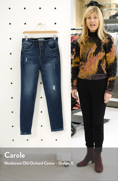Ab-Solution High Waist Fringe Cuff Ankle Jeans, sales video thumbnail