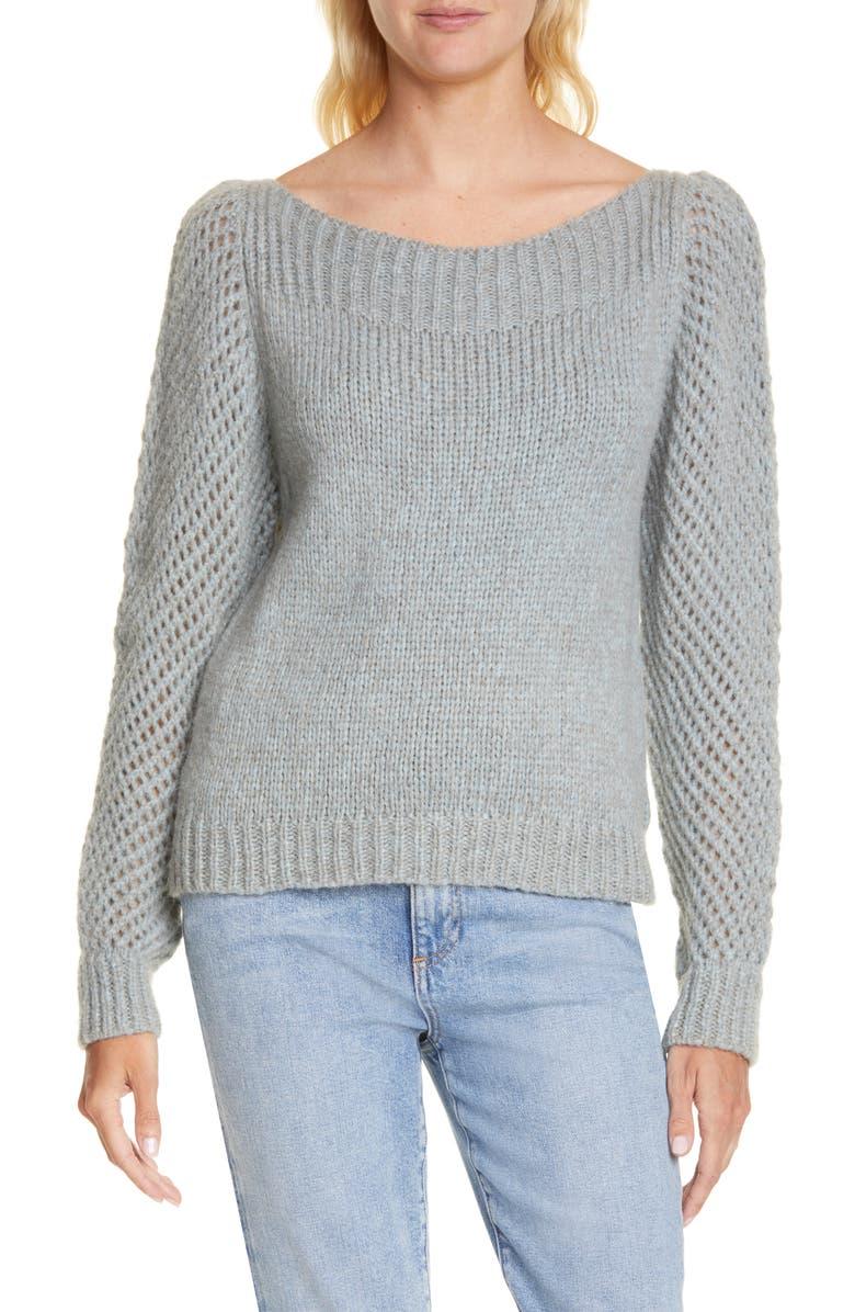 LOVESHACKFANCY Rosie Pullover Sweater, Main, color, BLUE PETALS