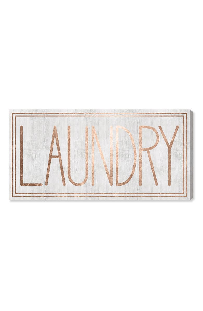 OLIVER GAL Laundry Canvas Wall Art, Main, color, WHITE