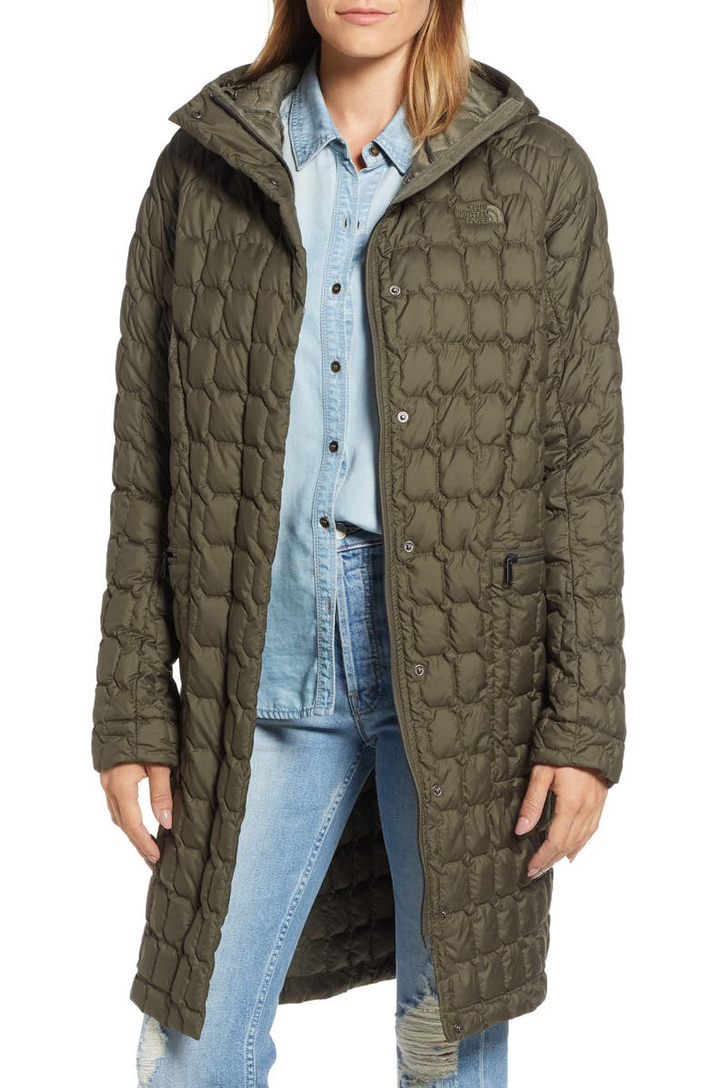 THE NORTH FACE Thermoball<sup>™</sup> Water Resistant Duster Jacket, Main, color, NEW TAUPE GREEN