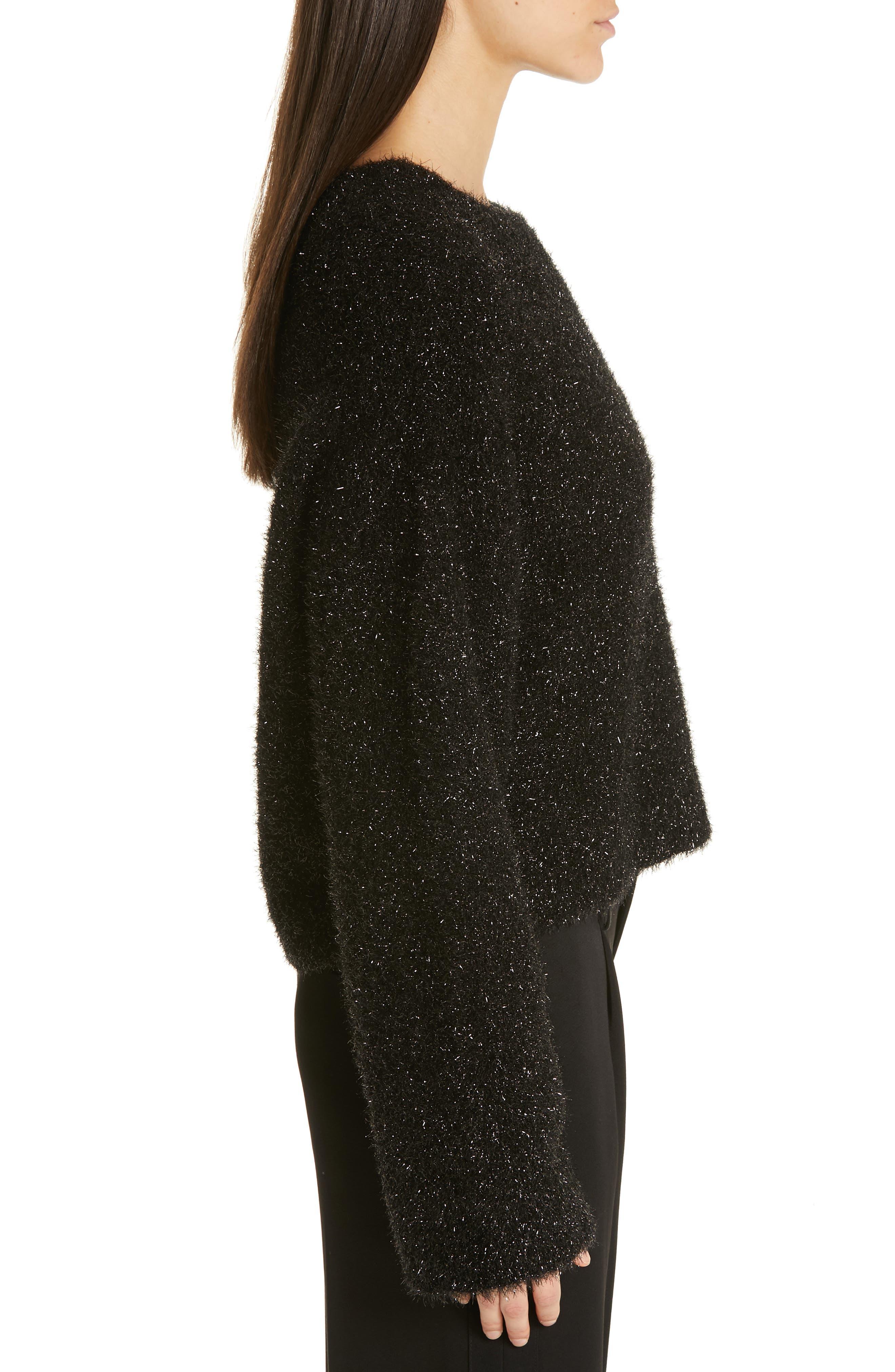 ,                             Boxy Metallic Knit Sweater,                             Alternate thumbnail 3, color,                             001