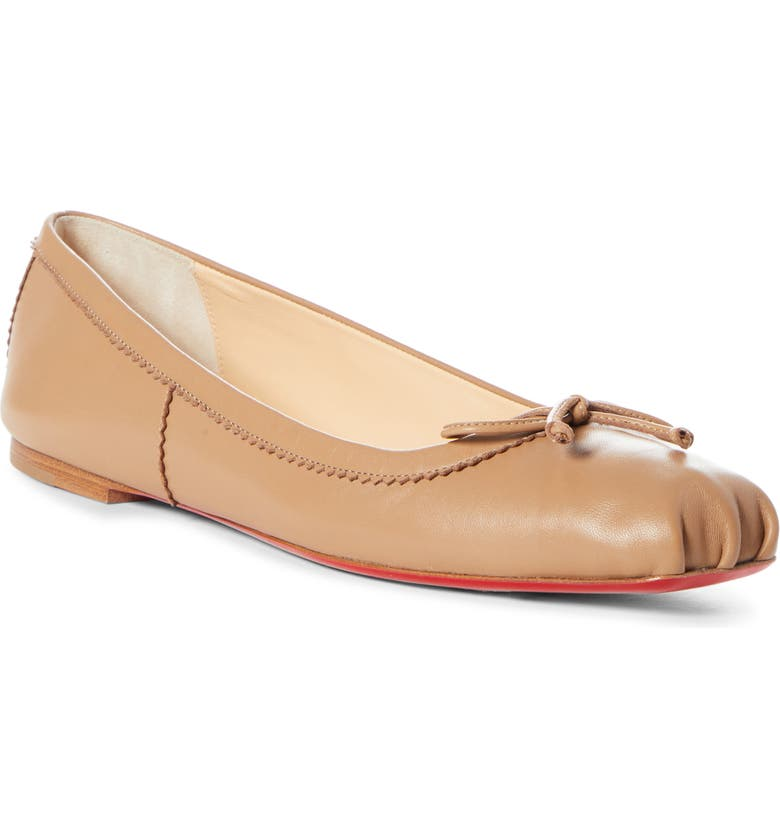 CHRISTIAN LOUBOUTIN Mamadrague Square Toe Ballet Flat, Main, color, BEIGE