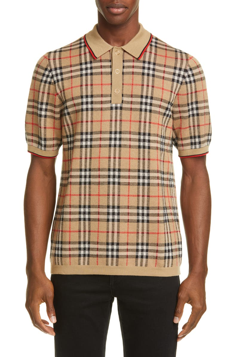 BURBERRY Westbrook Vintage Check Short Sleeve Merino Wool Polo, Main, color, ARCHIVE BEIGE