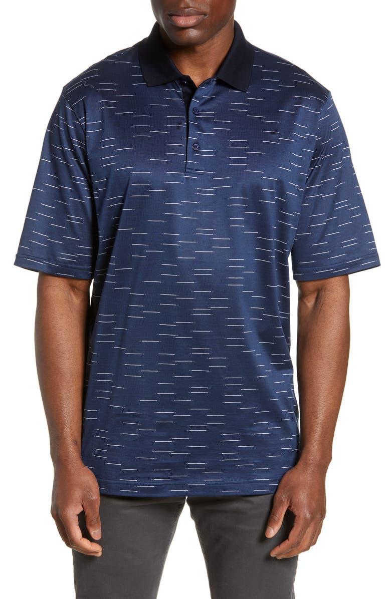 BUGATCHI Patterned Mercerized Jersey Polo, Main, color, NAVY