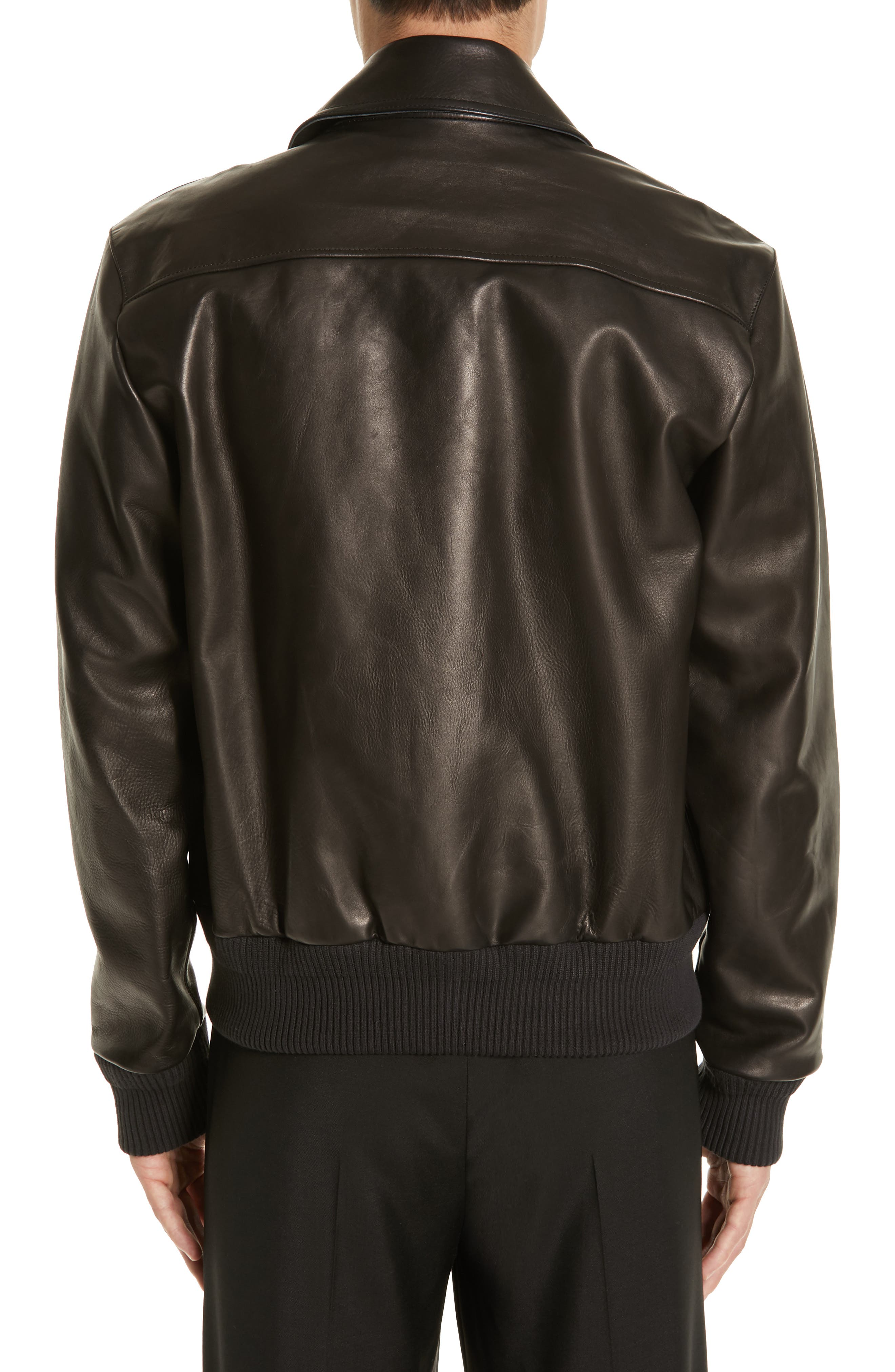 ,                             Lazlo Leather Bomber Jacket,                             Alternate thumbnail 2, color,                             BLACK