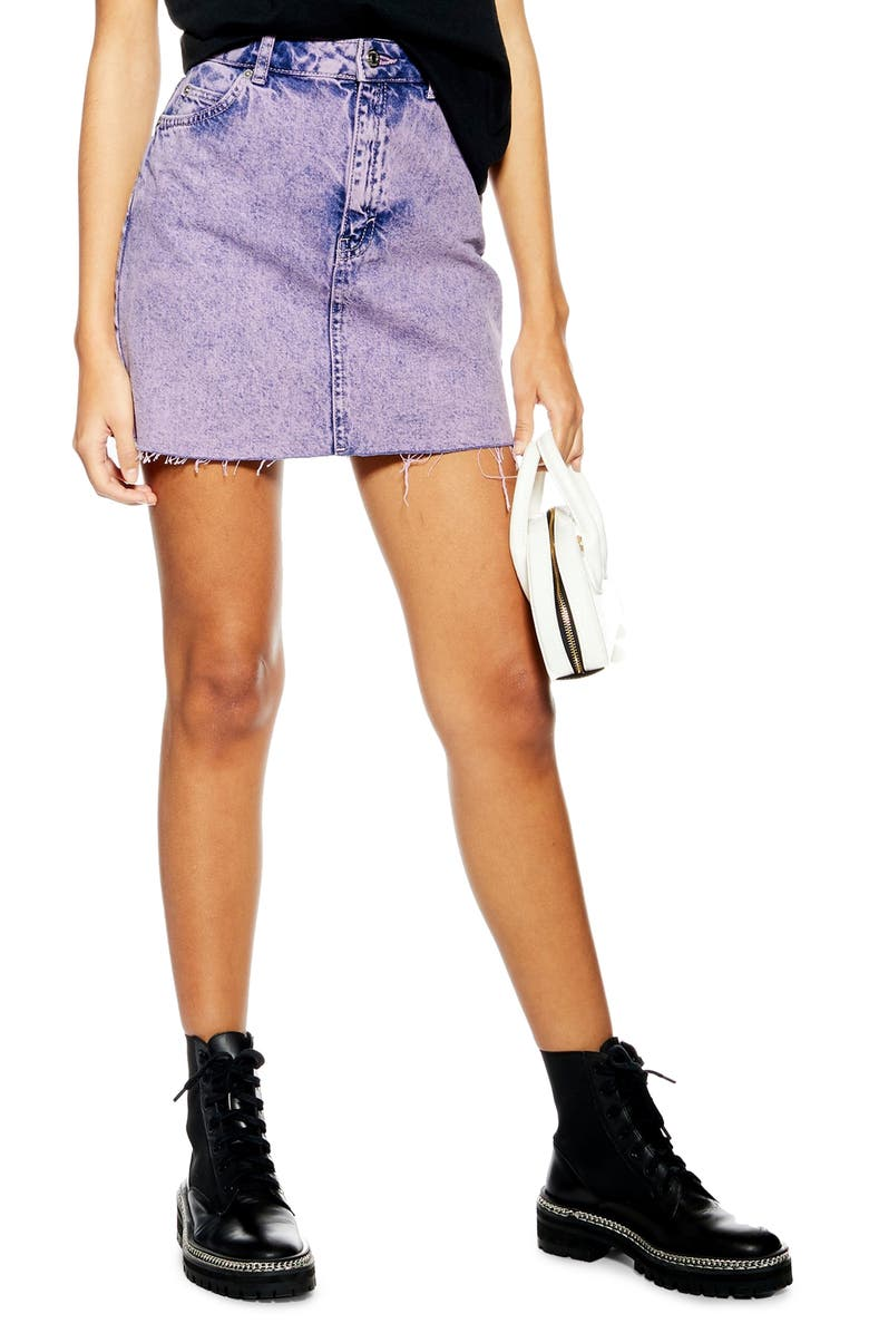 TOPSHOP Acid Wash Miniskirt, Main, color, 500