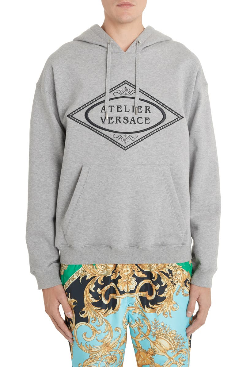 VERSACE Embroidered Logo Hoodie, Main, color, LIGHT GREY