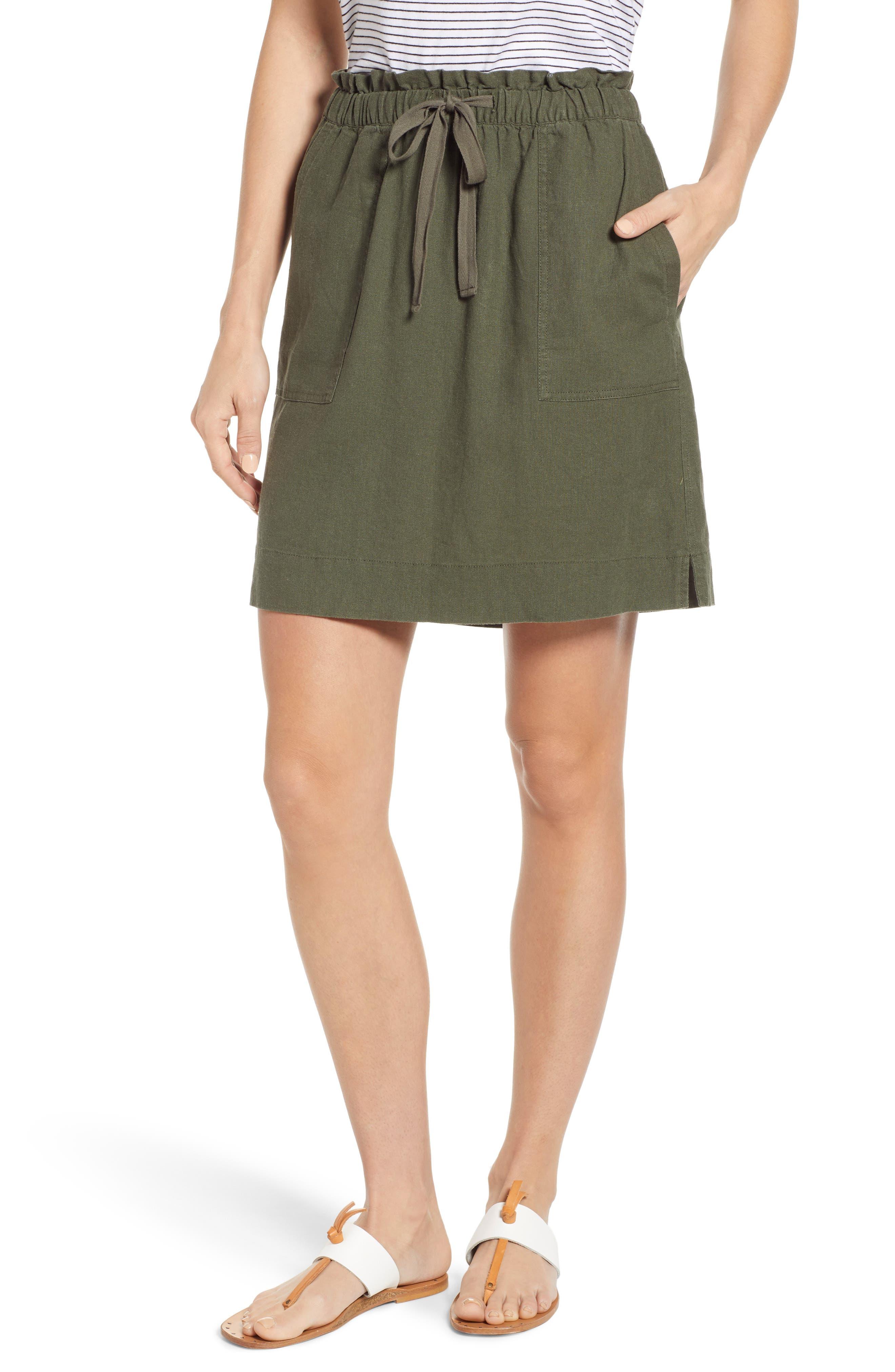 Petite Caslon Paperbag Waist Linen Blend Skirt, Green