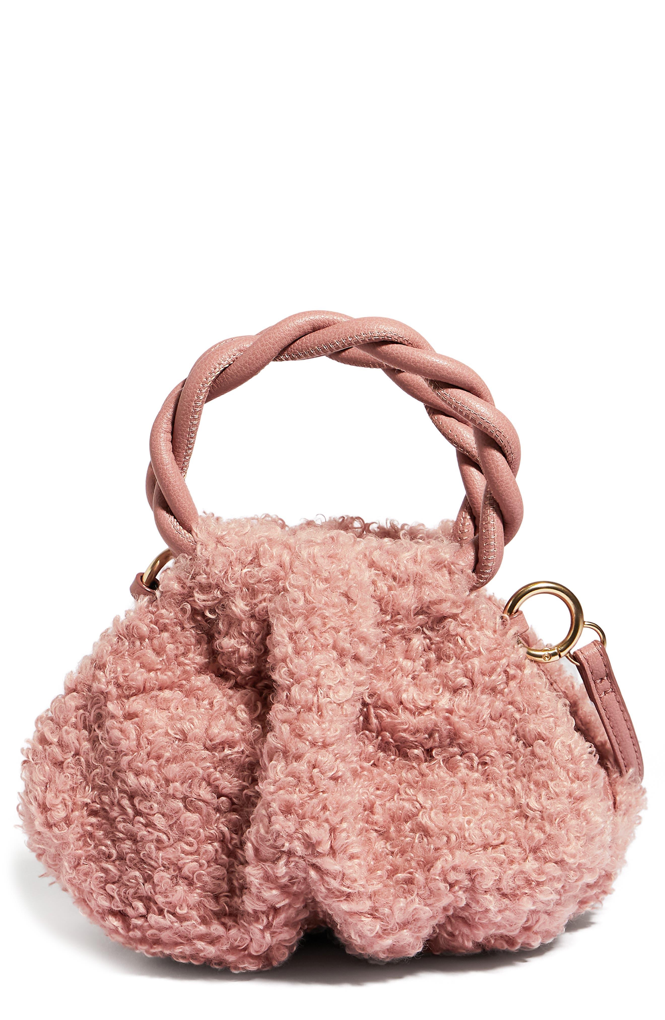 H.o.w. We Are Adorbs Mini Faux Shearling Crossbody Bag