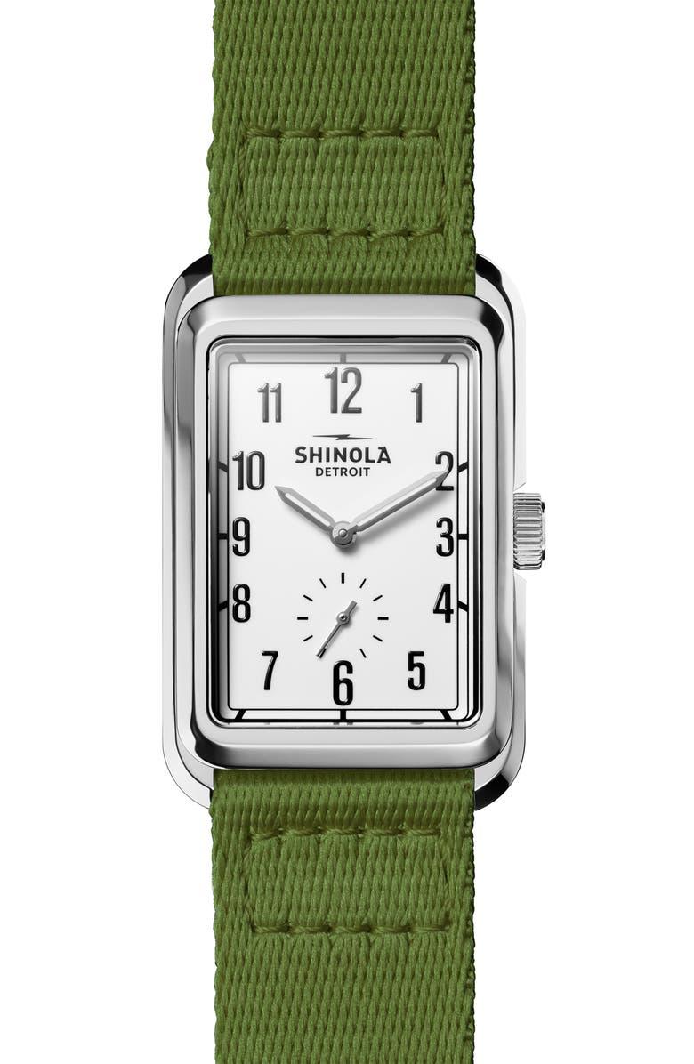 SHINOLA Omaha Rectangular Braided Nylon Strap Watch, 26mm x 37mm, Main, color, OLIVE GREEN/ WHITE / SILVER
