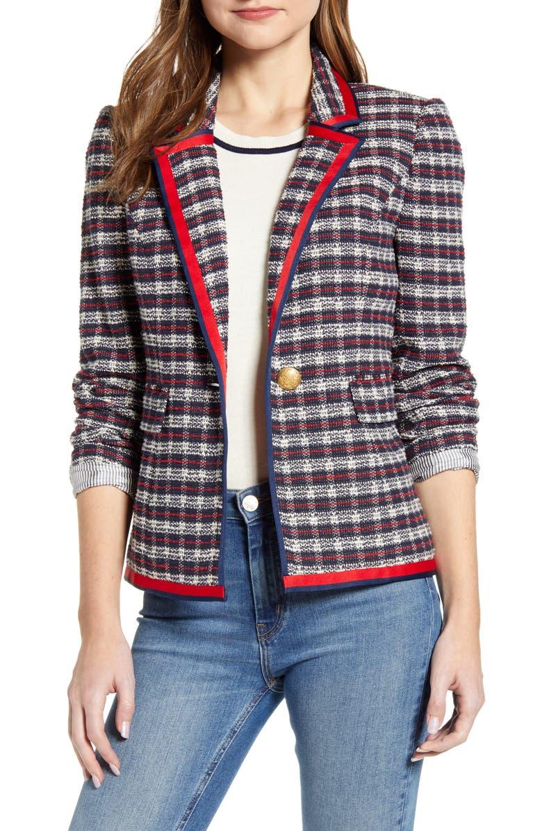 COURT & ROWE Satin Trim Plaid Tweed Blazer, Main, color, 405