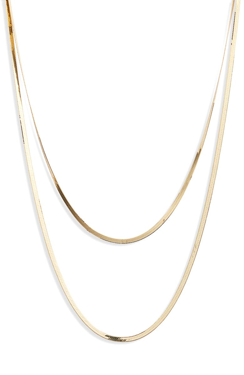 LANA JEWELRY Casino Herringbone Layered Necklace, Main, color, YELLOW GOLD