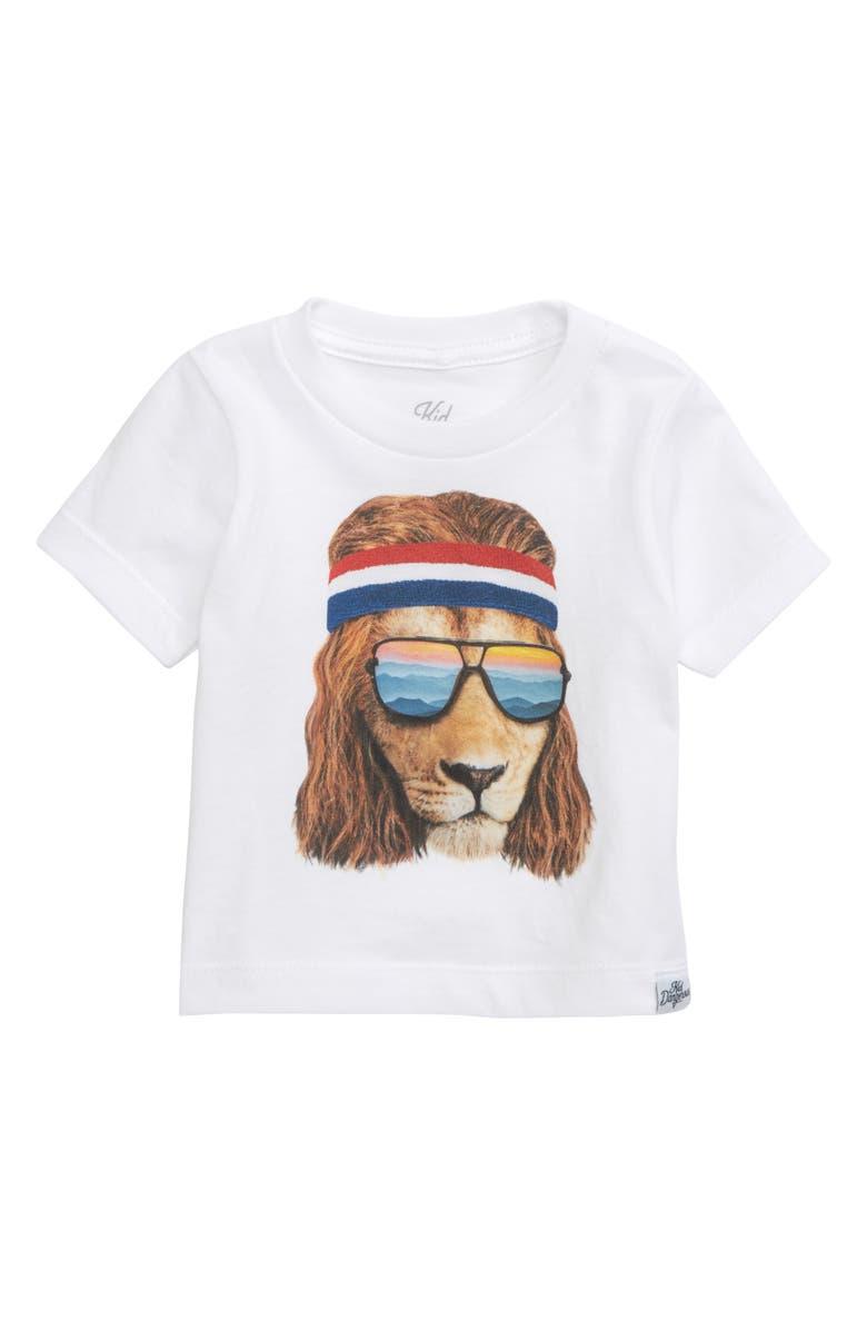 KID DANGEROUS Lion Shades Graphic T-Shirt, Main, color, WHITE
