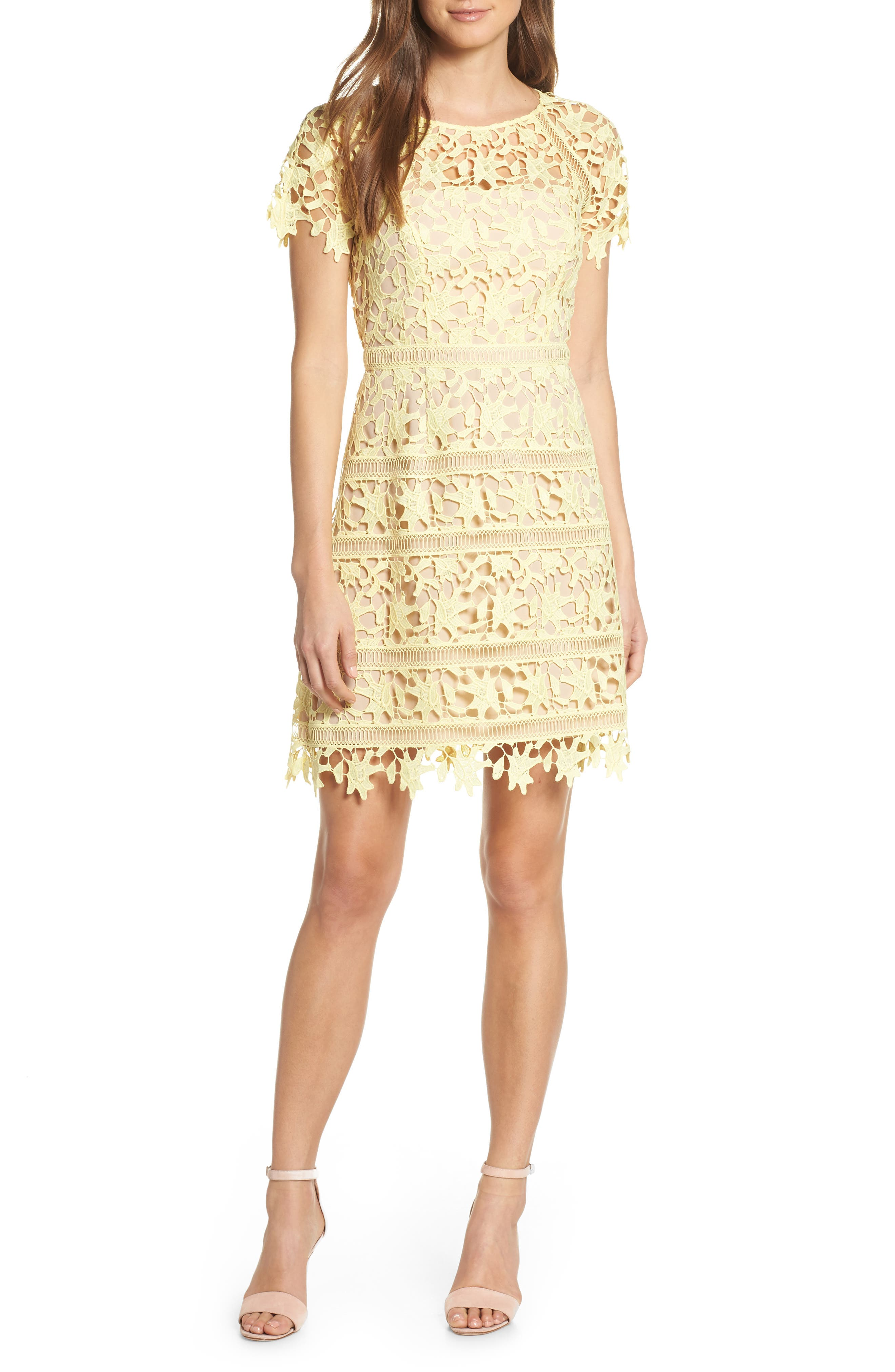 Eliza J Open Lace Dress, Yellow