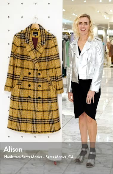 Plaid Double Breasted Wool Blend Coat, sales video thumbnail
