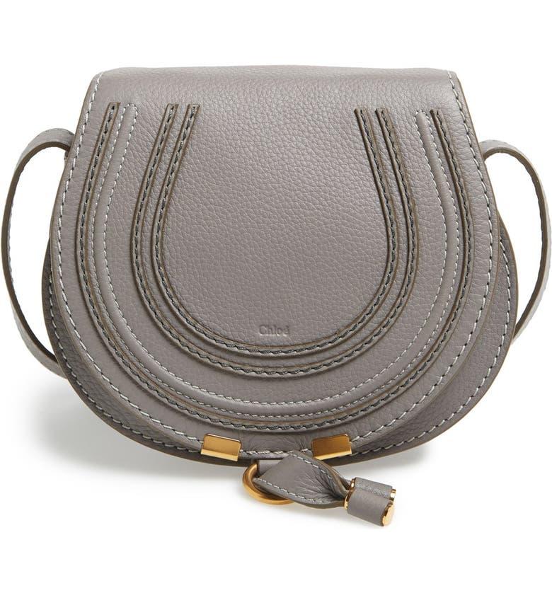 CHLOÉ Mini Marcie Leather Crossbody Bag, Main, color, CASHMERE GREY