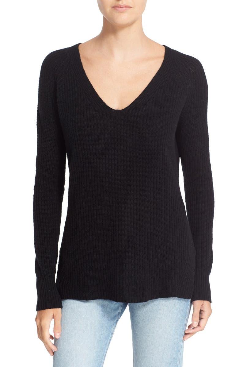 AUTUMN CASHMERE Shaker Stitch Cashmere V-NeckSweater, Main, color, 001