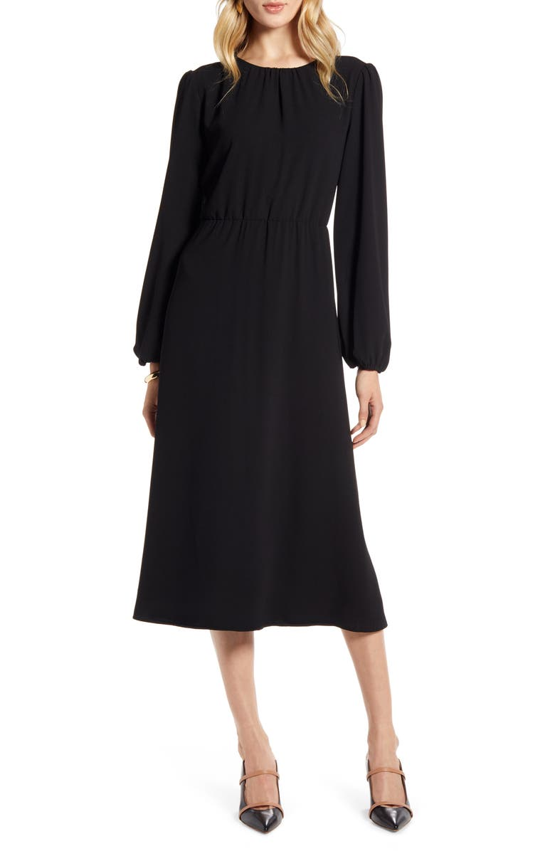 HALOGEN<SUP>®</SUP> Long Sleeve Midi Dress, Main, color, BLACK