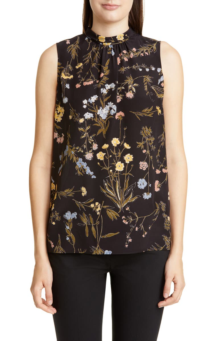 LAFAYETTE 148 NEW YORK Jem Floral Print Silk Blouse, Main, color, BLACK MULTI
