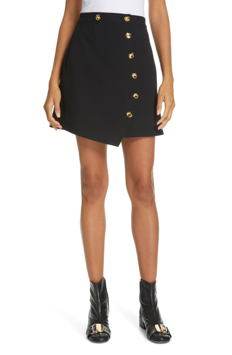 TIBI Anson Stretch Miniskirt, Main, color, BLACK