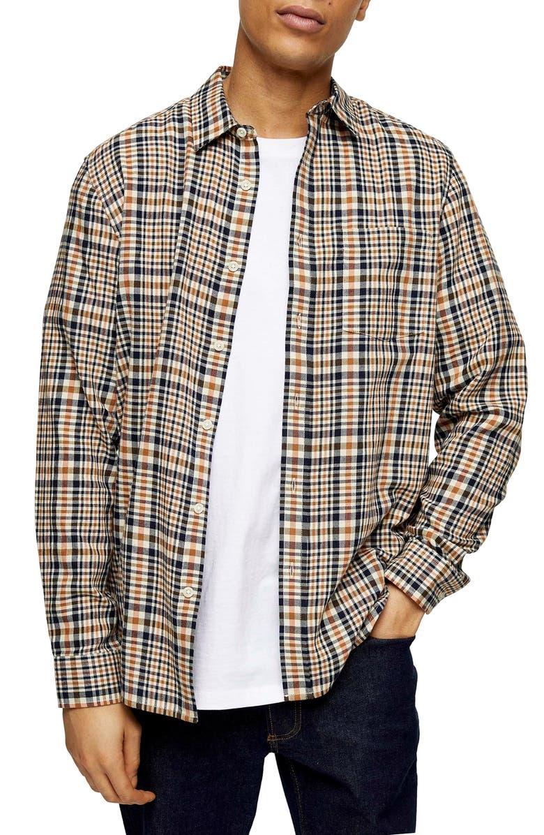 TOPMAN Plaid Button-Up Twill Shirt, Main, color, ORANGE MULTI