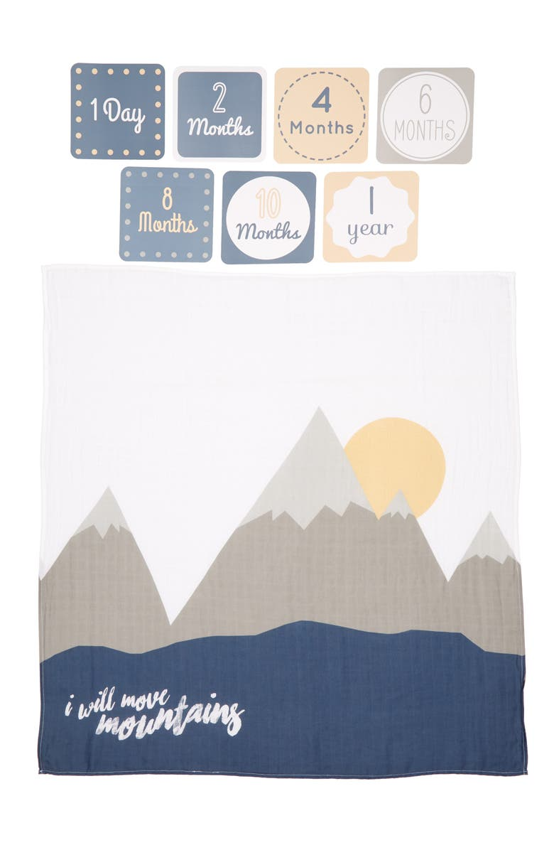 LULUJO Baby's First Year - I Will Move Mountains Muslin Blanket & Milestone Card Set, Main, color, 060