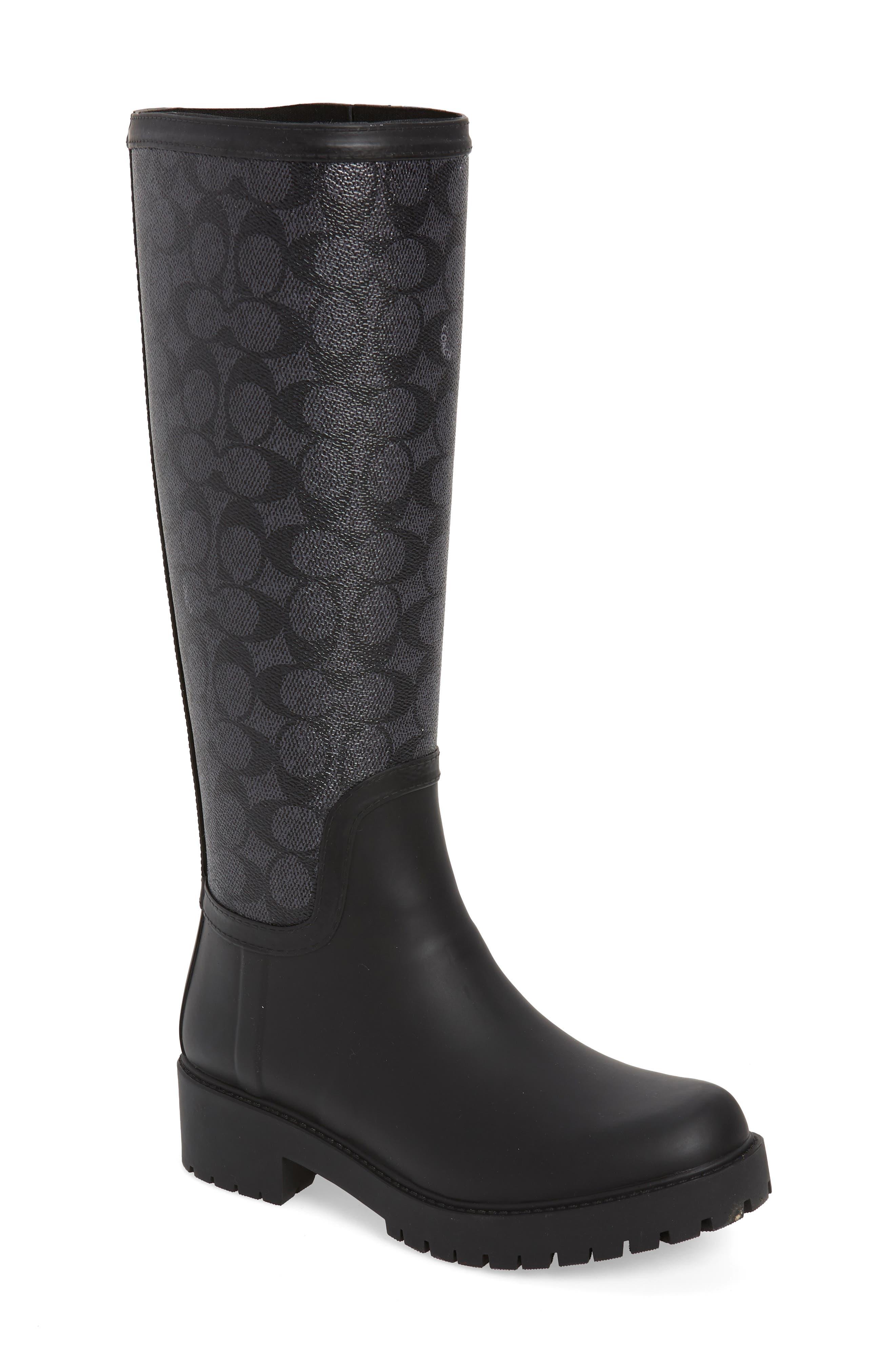 Coach Signature Logo & Floral Knee High Rain Boot, Black