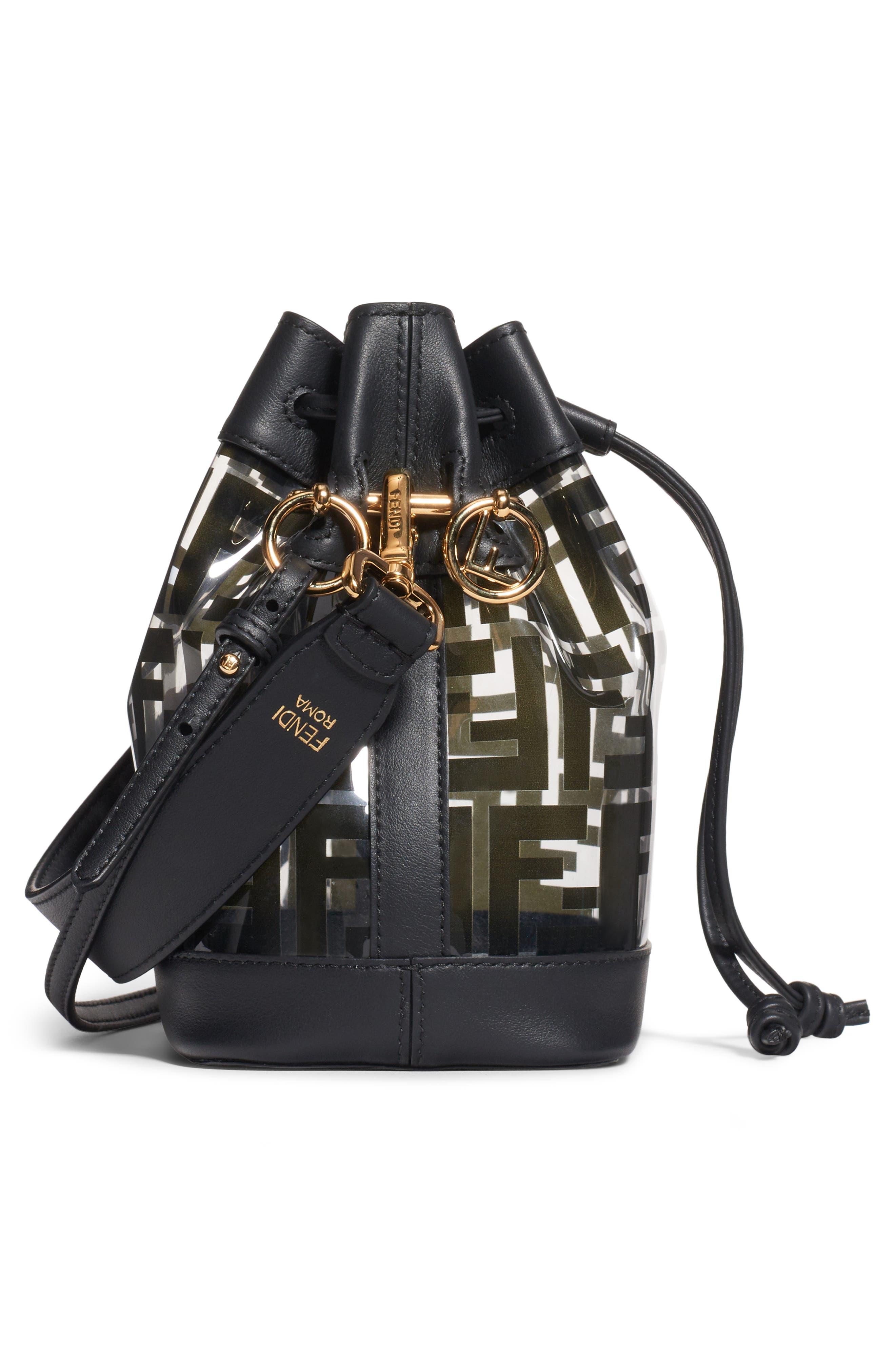 ,                             Mini Mon Tresor Transparent Bucket Bag,                             Alternate thumbnail 3, color,                             NERO/ ORO SOFT