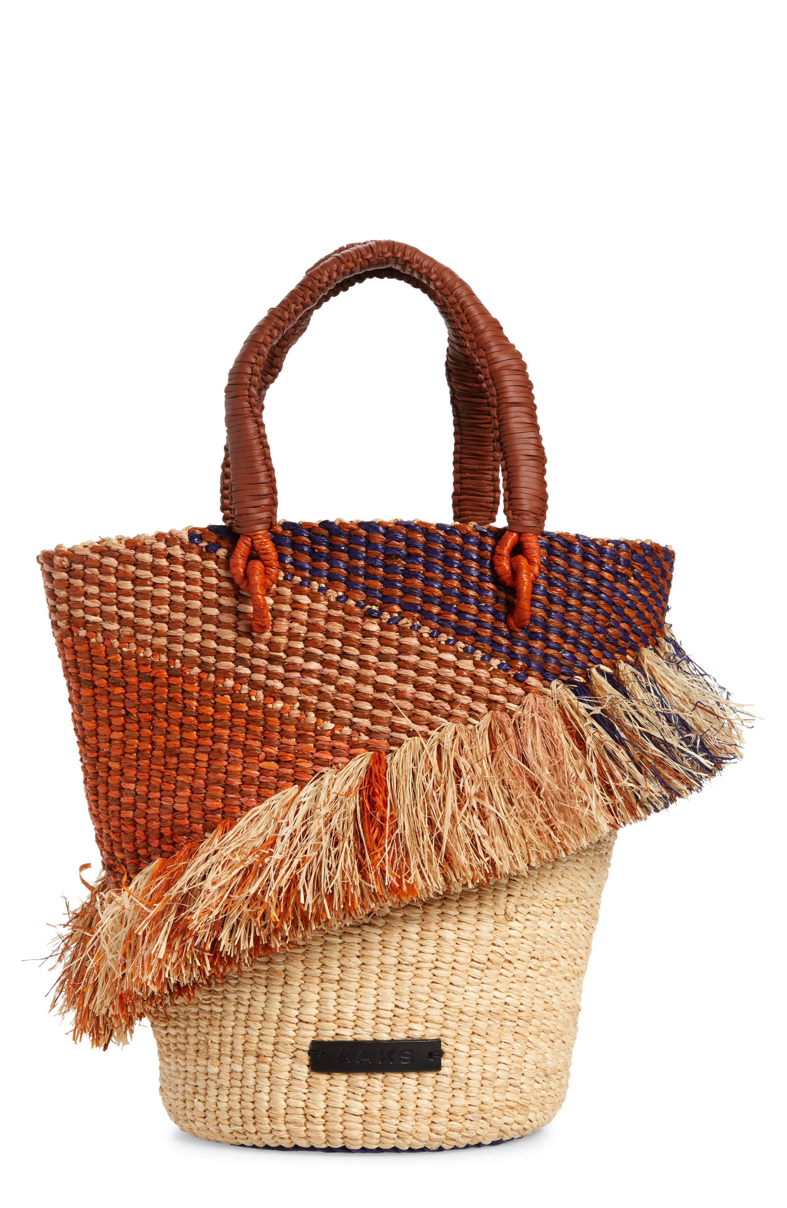 Tia Ruffle Raffia Bucket Bag