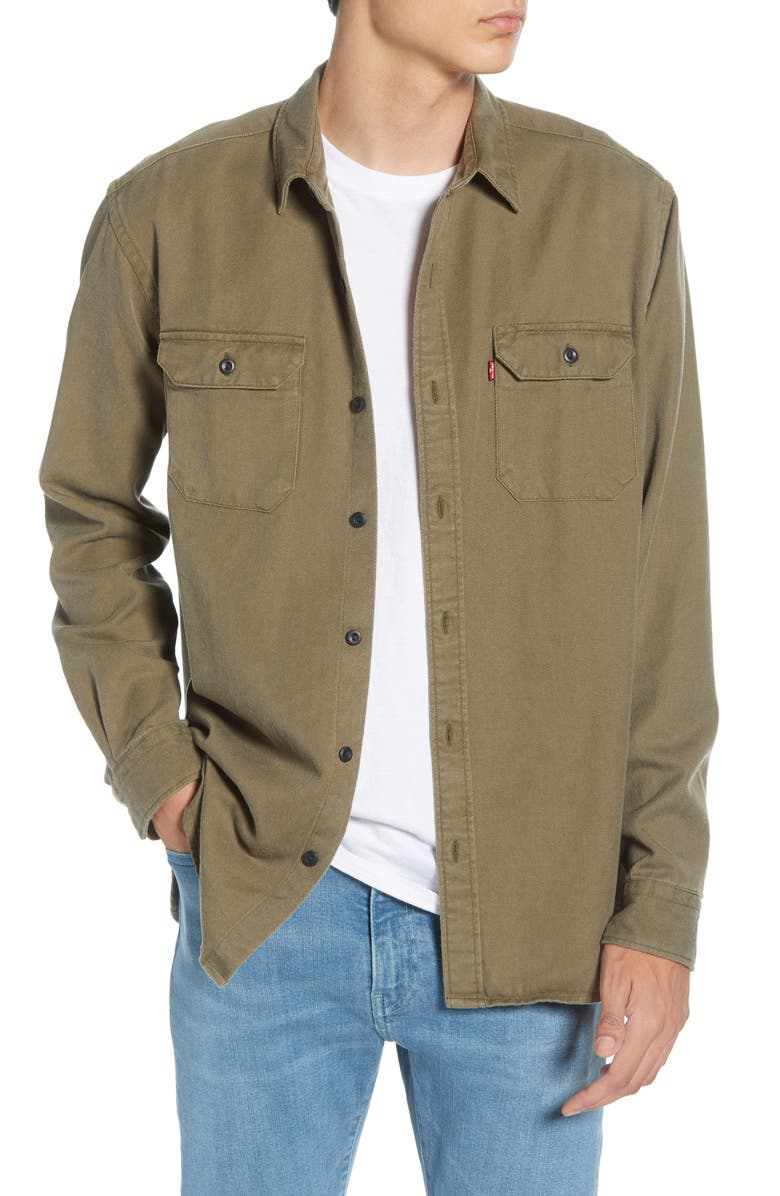 LEVI'S<SUP>®</SUP> Jackson Slim Fit Worker Shirt, Main, color, OLIVE NIGHT