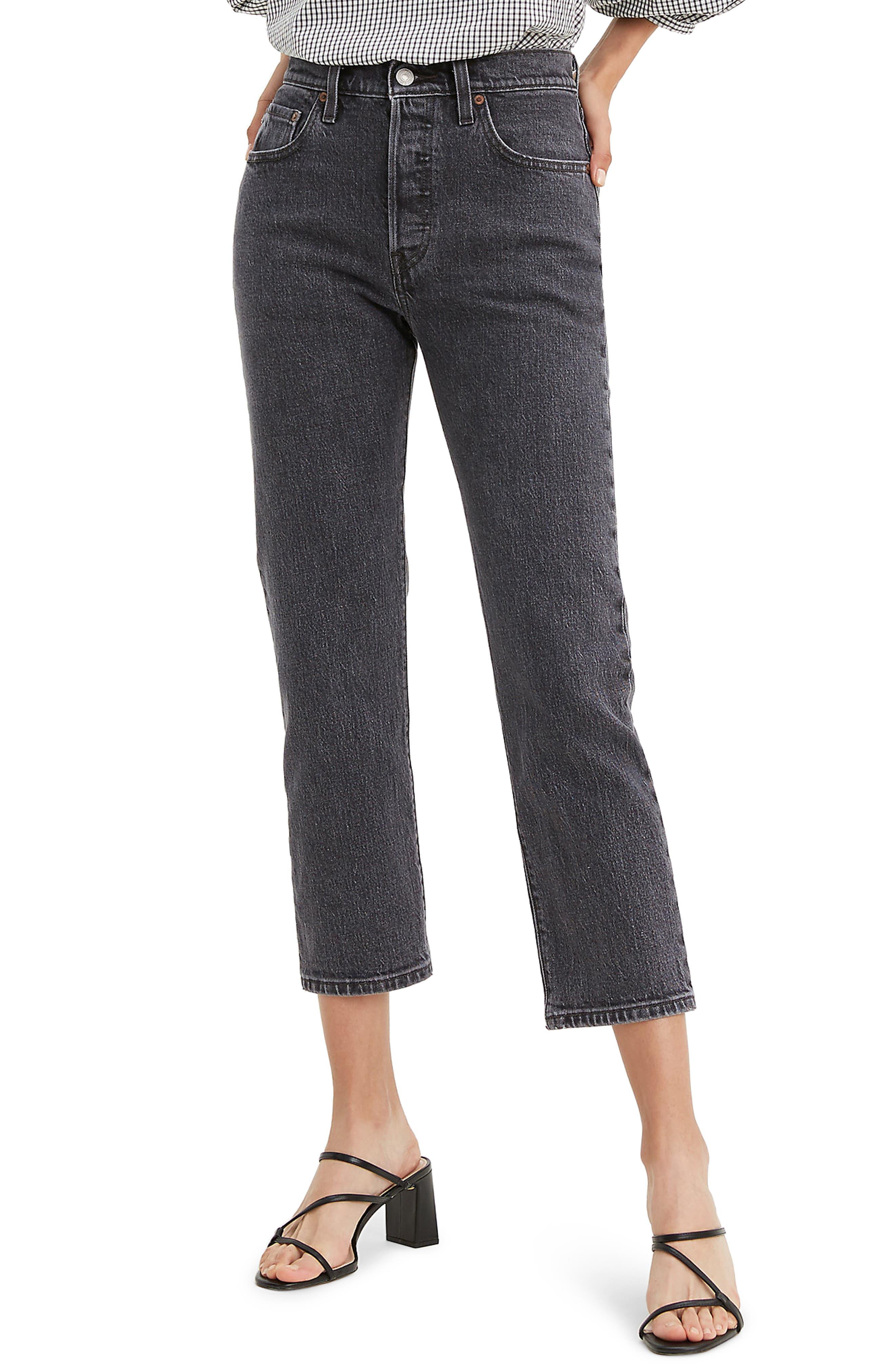 Women's Levi's 501 High Waist Crop Straight Leg Jeans,  31 x 26 - Grey
