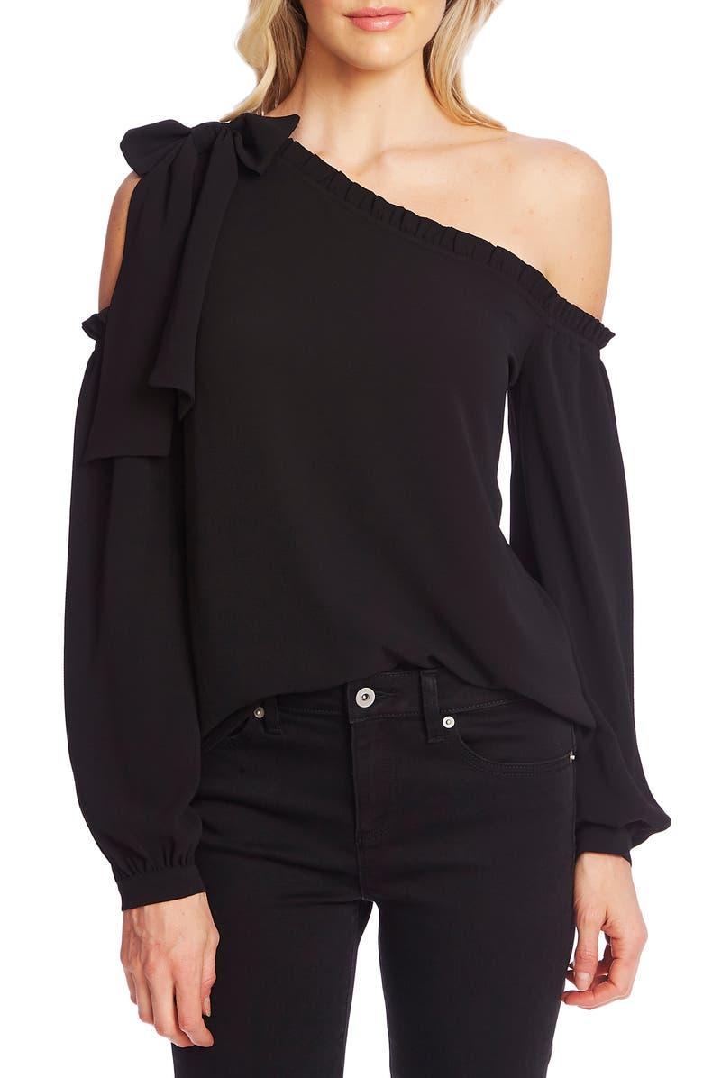 CECE One-Shoulder Long Sleeve Blouse, Main, color, 001
